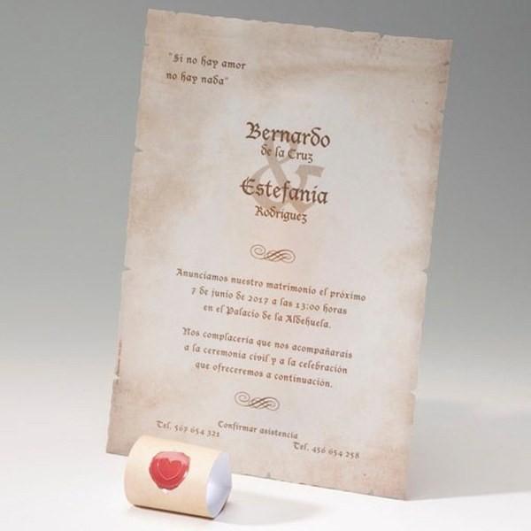 Invitación de boda original sello
