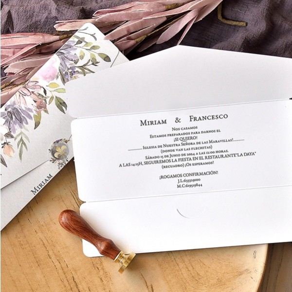 Invitación de boda sobre