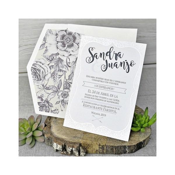 Invitación de boda vintage carta