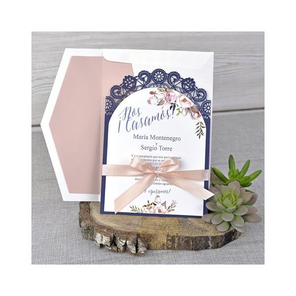 Invitación de boda vintage lacito