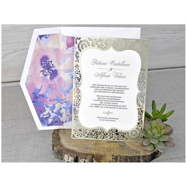 Invitación de boda vintage distinguida