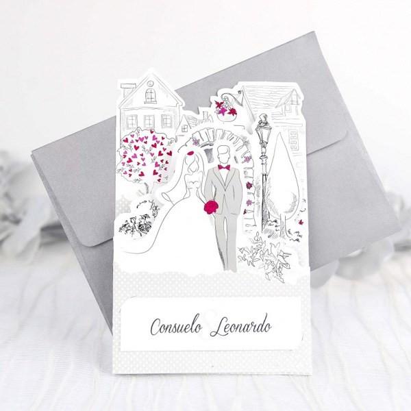 Invitacion de boda romantica paseo