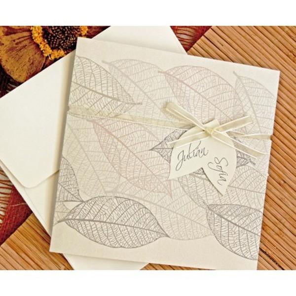 Invitacion de boda original hojas