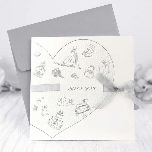 Invitacion de boda romantica corazon