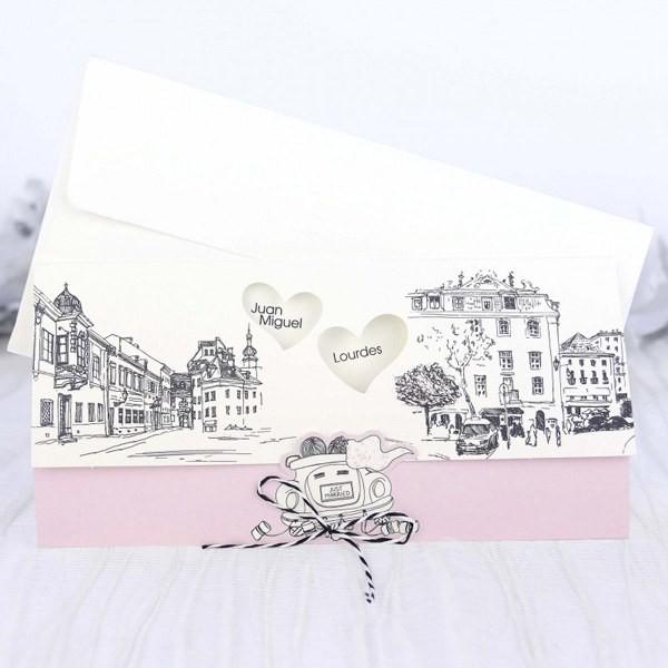 Invitacion de boda vintage ciudad