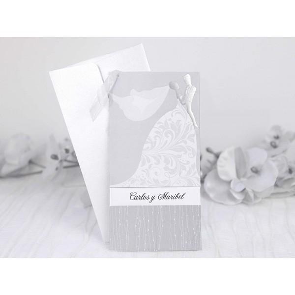 Invitacion de boda original vestido ideal