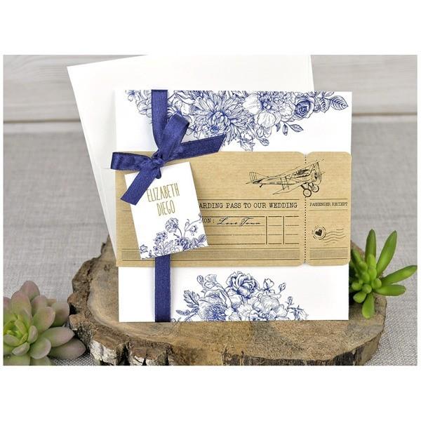 Invitación de boda creativa lacito azul