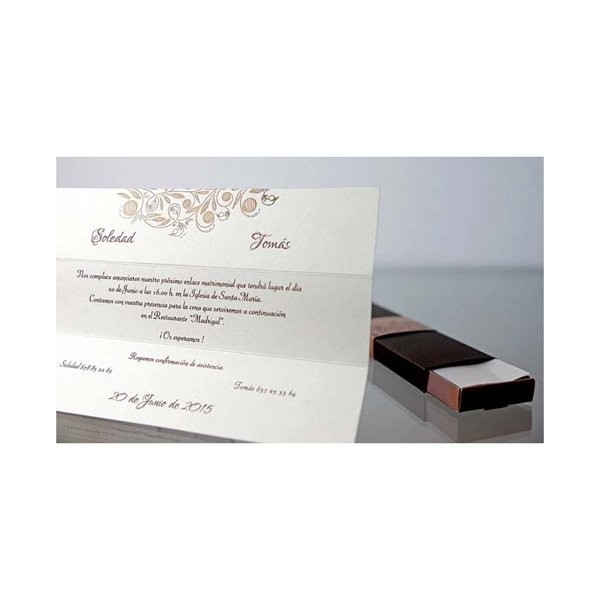 Invitacion de boda original cajita