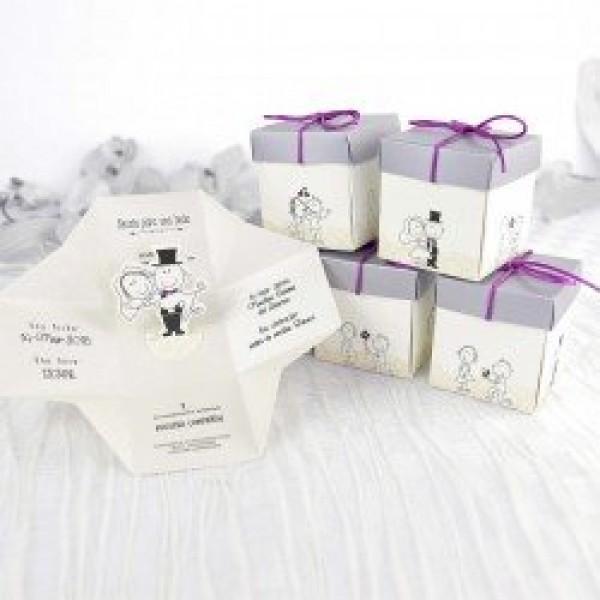 Invitacion de boda vintage caja regalo