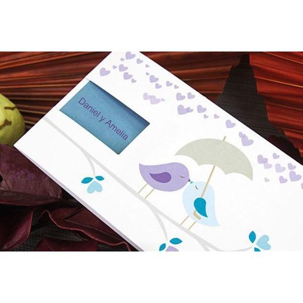 Invitación de boda romántica aves enamoradas