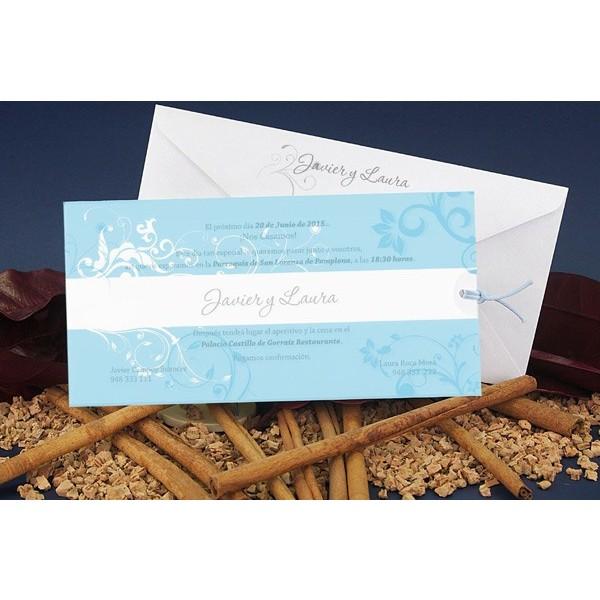 Invitación boda original estampado azul