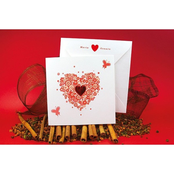 Invitación de boda romántica corazón rojo