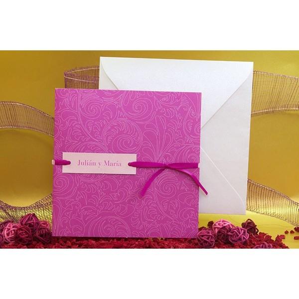 Invitación de boda original estampada rosa