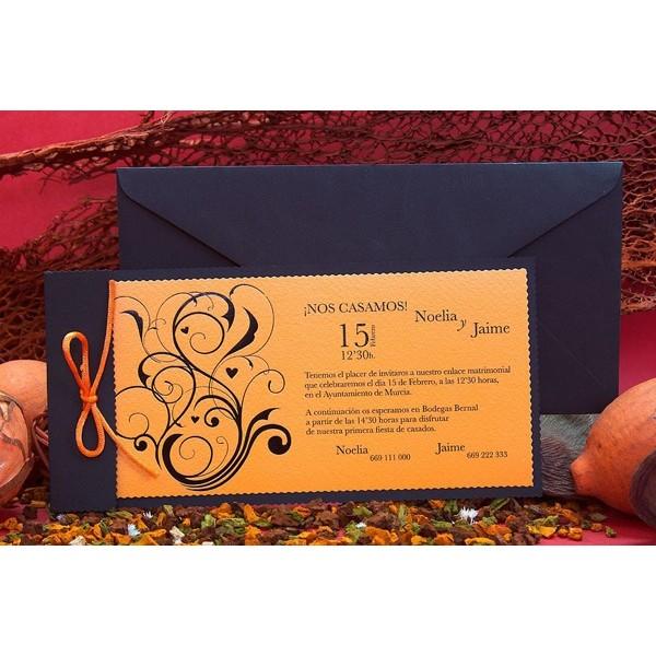 Invitación de boda original naranja