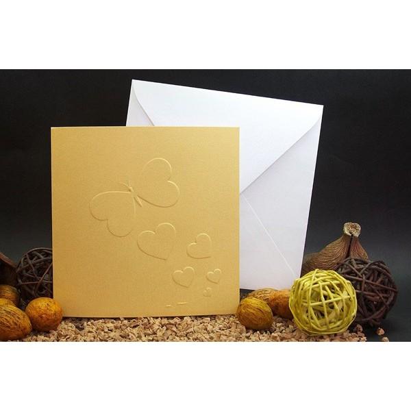 Invitación de boda original mariposas oro