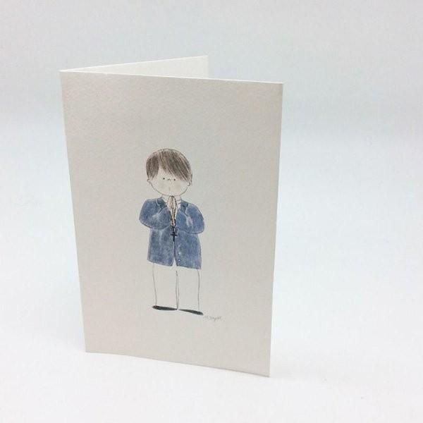 Portafotos comunión niño con americana azul - lote 25 unidades