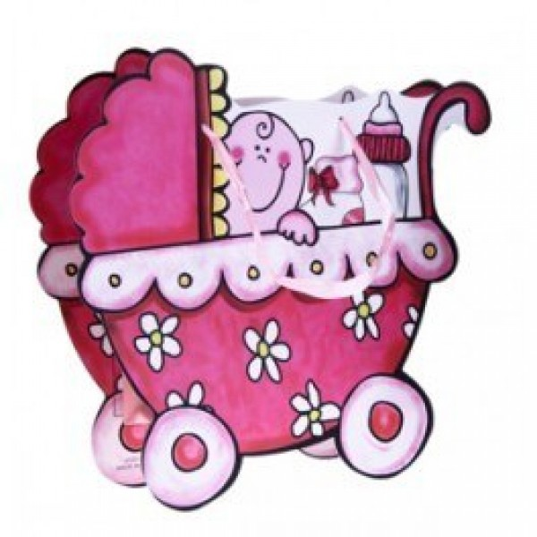 Detalle bautizo bolsa carrito rosa