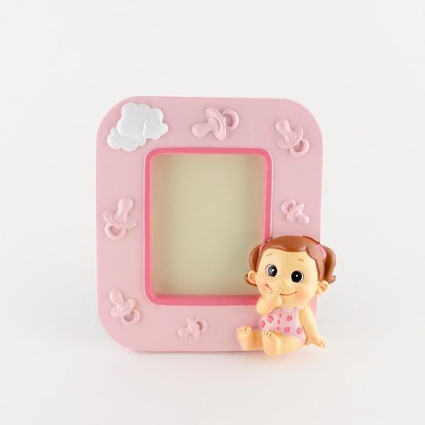 Recuerdo para bautizo porta foto bebe niña graciosa rosa