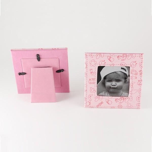 Recuerdo para Bautizo porta foto piel rosa dibujos bebe