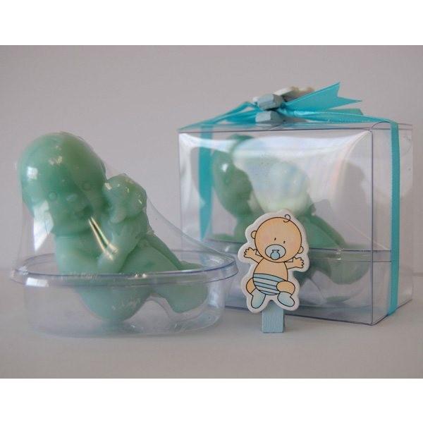 Recuerdo para Bautizo bebe jabon en bañera azul