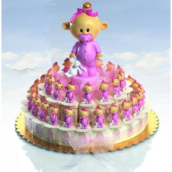 Detalle bautizo tarta porciones bebe chupete rosa