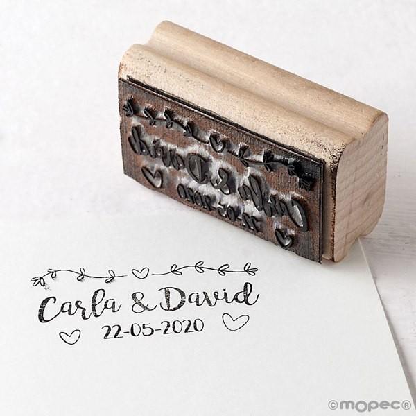 Sello personalizado rectangular para Boda - corazones