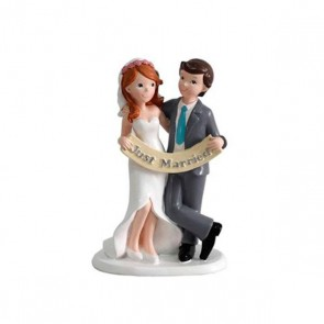 Detalle de boda figura pastel just married